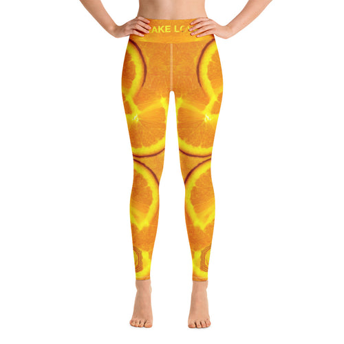 Orange Sacral Chakra Women's Yoga Workout Leggings front