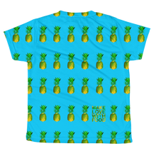Load image into Gallery viewer, Pineapple All Over Youth and Kids Short Sleeve T Shirt blue back