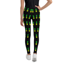 Load image into Gallery viewer, Pineapple Youth and Kids Leggings Black back