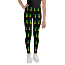 Load image into Gallery viewer, Pineapple Youth and Kids Leggings Black front
