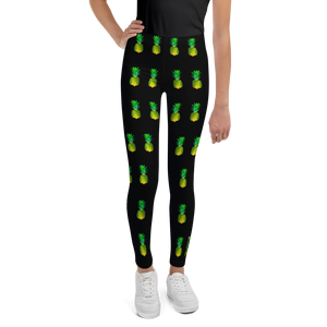 Pineapple Youth and Kids Leggings Black front