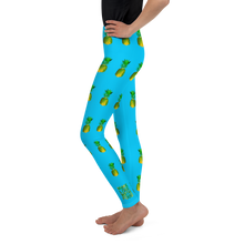 Load image into Gallery viewer, Pineapple Youth and Kids Leggings Blue side
