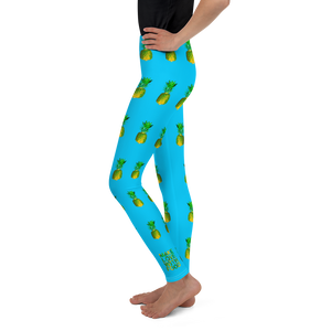 Pineapple Youth and Kids Leggings Blue side