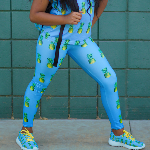 Pineapple Youth and Kids Leggings Blue front