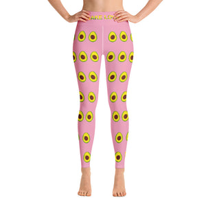 Avocado Women's Yoga Workout Leggings Pink Front