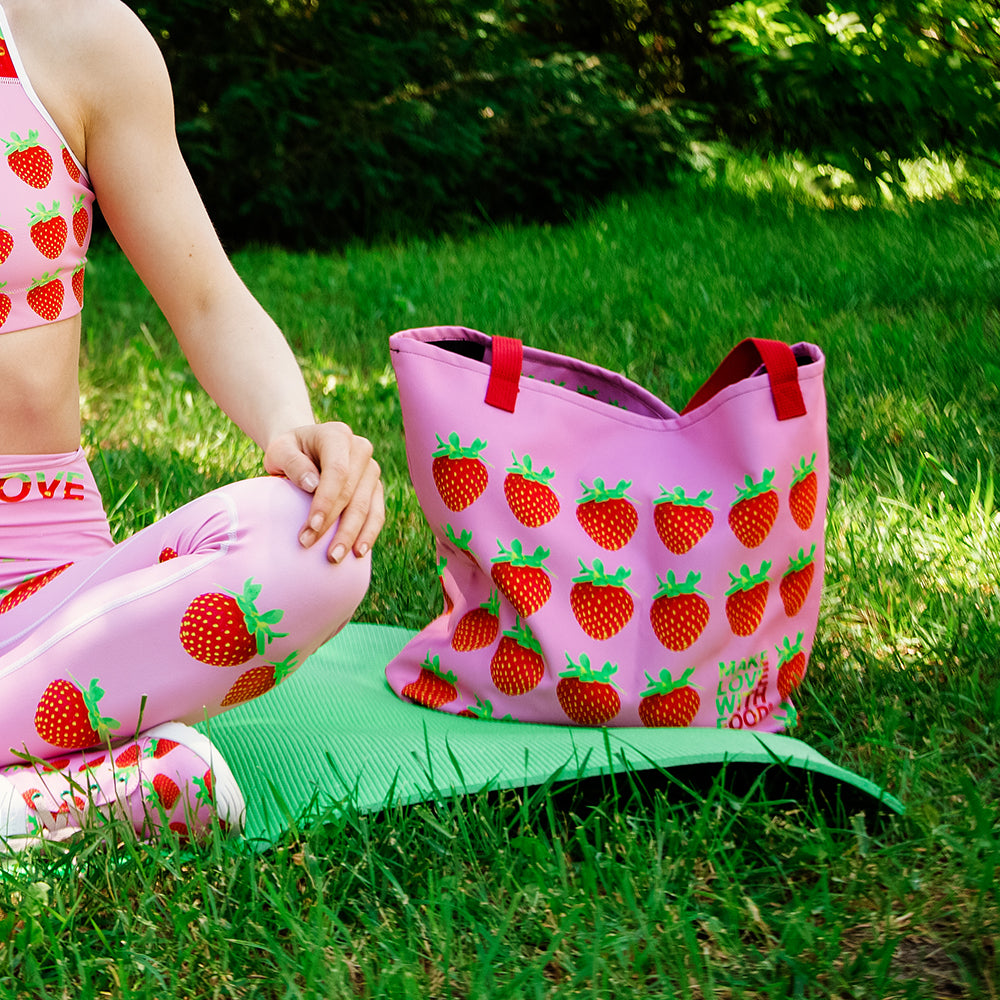 Pink Strawberry Women's Large Beach Bag