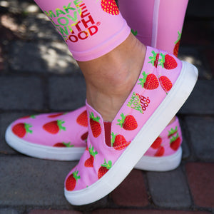 pink strawberry slip-on women's shoes by make love with food
