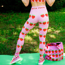 Load image into Gallery viewer, Strawberry Women's Yoga Workout Leggings Pink back