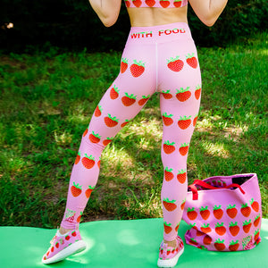 Strawberry Women's Yoga Workout Leggings Pink back