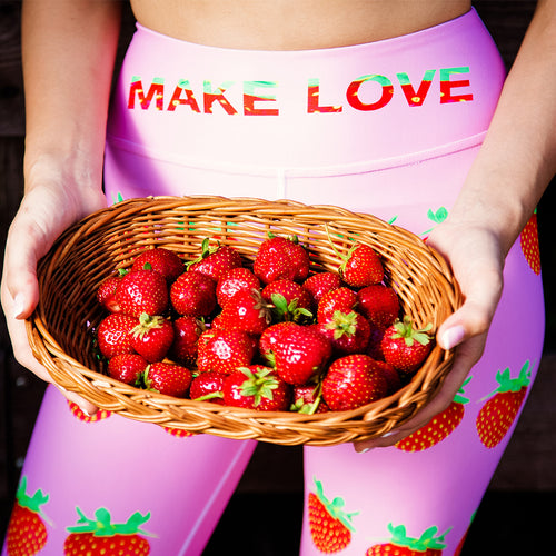 Strawberry Women's Yoga Workout Leggings Pink Front