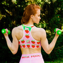 Load image into Gallery viewer, pink strawberry yoga sports bra on woman back