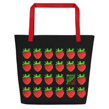 Load image into Gallery viewer, Black Strawberry Women's Large Beach Bag