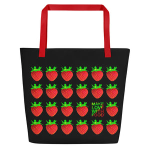 Black Strawberry Women's Large Beach Bag