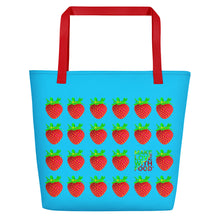 Load image into Gallery viewer, Blue Strawberry Women's Large Beach Bag