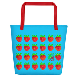 Blue Strawberry Women's Large Beach Bag