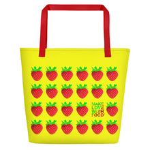Load image into Gallery viewer, Yellow Strawberry Women's Large Beach Bag