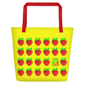 Yellow Strawberry Women's Large Beach Bag