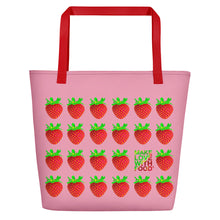 Load image into Gallery viewer, Pink Strawberry Women's Large Beach Bag