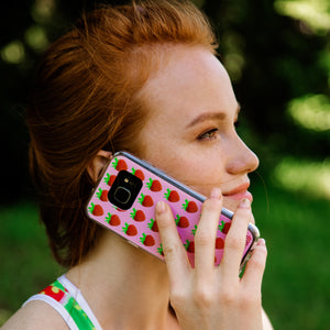 pink strawberry iphone case woman by make love with food