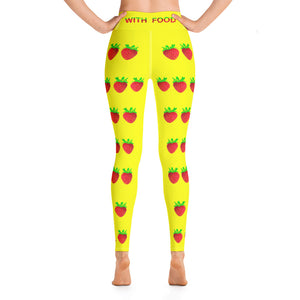 Strawberry Women's Yoga Workout Leggings Yellow Back