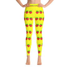 Load image into Gallery viewer, Strawberry Women's Yoga Workout Leggings Yellow Front