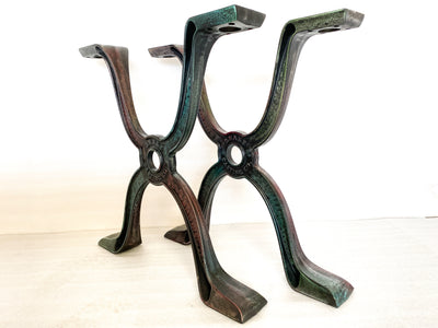 GENERATION X DINING TABLE LEGS OIL ON WATER HAND POURED IRON