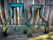 Classic Drake Coffee Table/ Bench Legs Emerald Green Rustic Metal