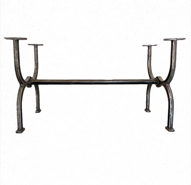 Inverted Arch Dining Table Trestle Base Distressed Iron