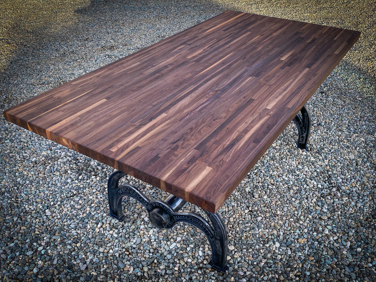 Classic Drake Walnut Butcher Block Dining Table