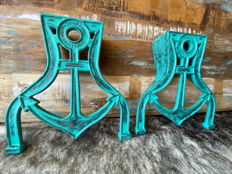 Weathered Turquoise Anchor Coffee Table Legs