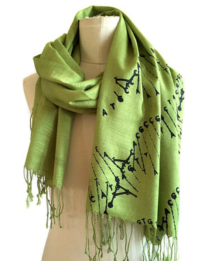 DNA Double Helix Scarf, Linen Weave Pashmina
