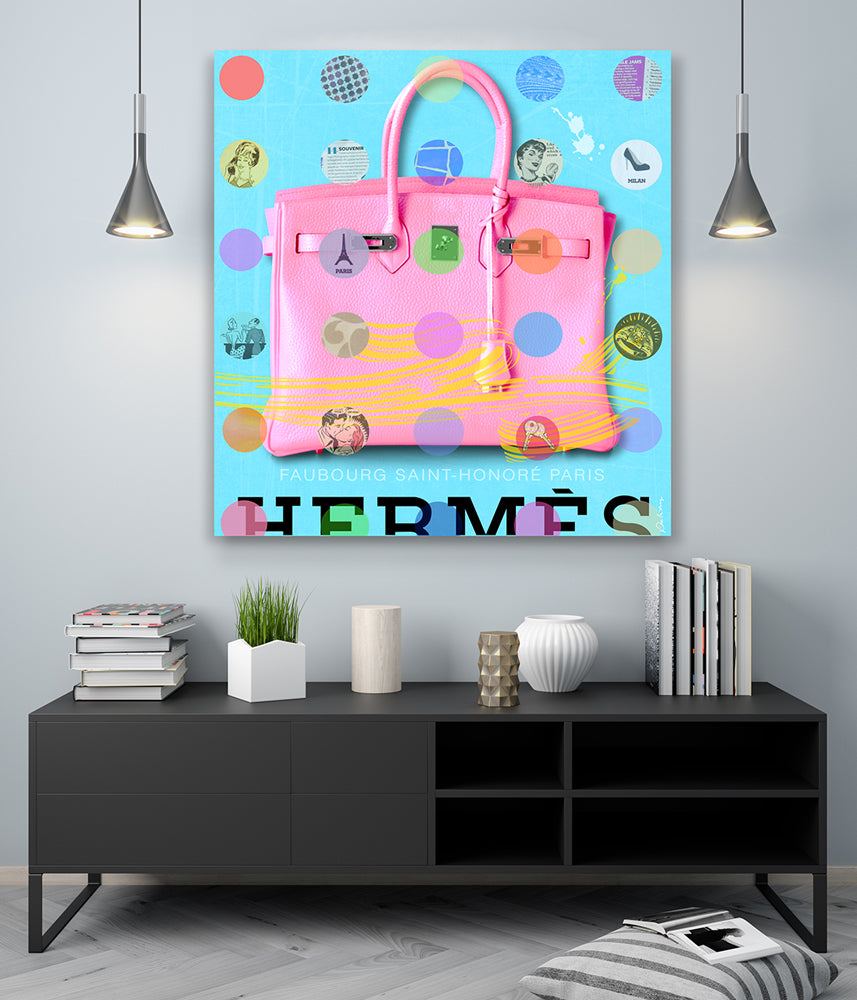 Hermes Birkin bag King of Pop Art Nelson De La Nuez world renown pop art resin on wood