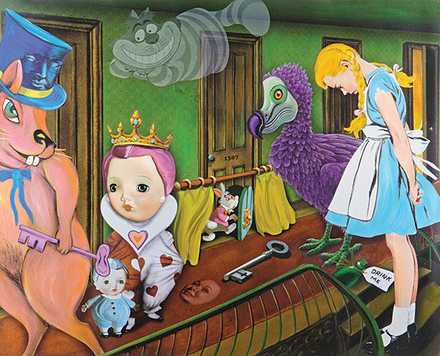 king of pop art, alice in wonderland, alice painting, de la nuez