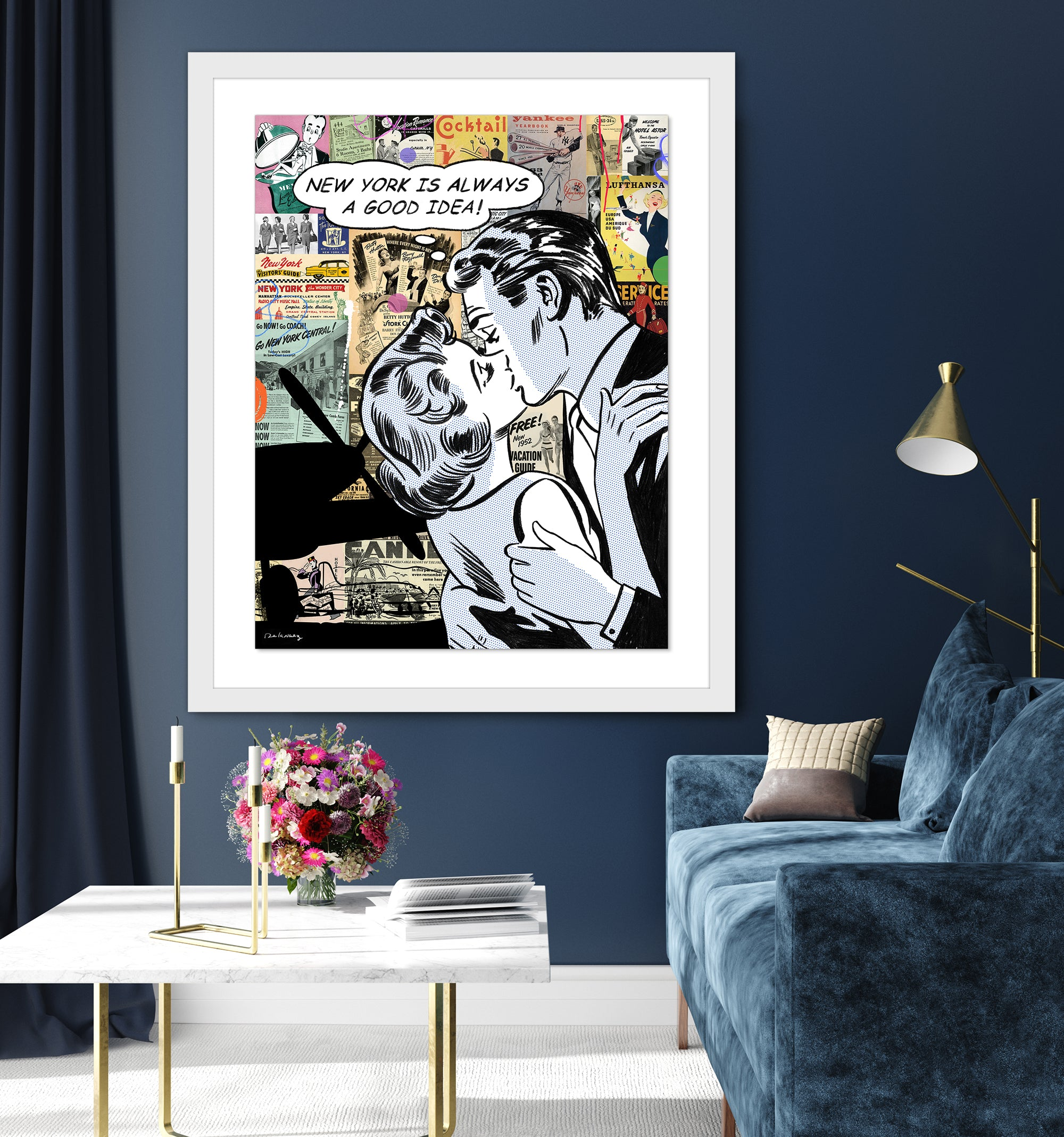 king of pop art nelson de la nuez lets fly away new york vacation love romance travel couple kiss