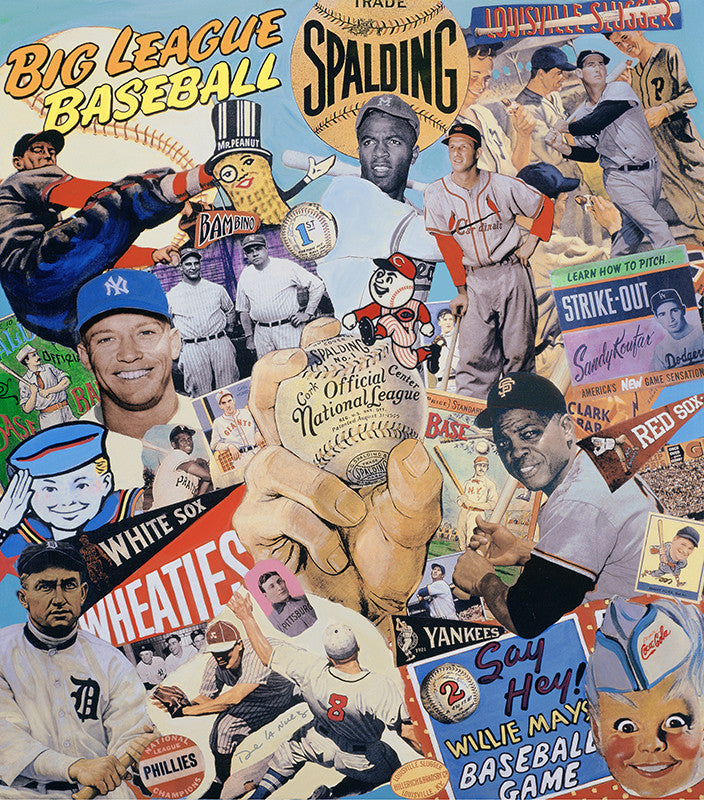 Play Ball baseball Nelson De La Nuez King of Pop art painting print vintage sports