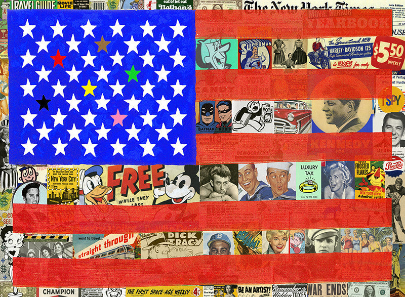 stars and stripes american flag Nelson de la nuez King of Pop Art patrioitic President donald Trump, Kennedy, Reagan