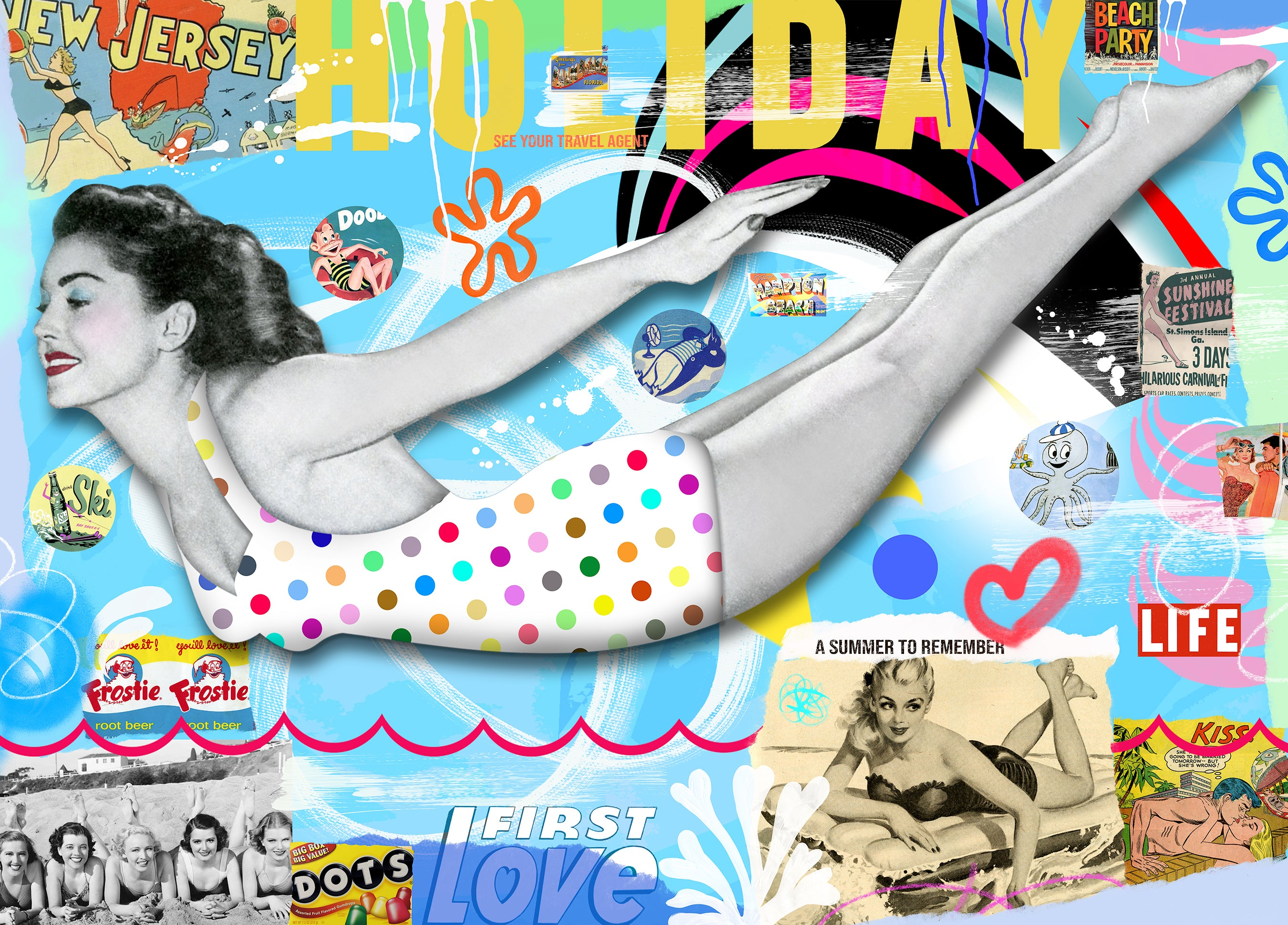 king of pop art nelson de la nuez summer to remember beach party polka dot swimming pool