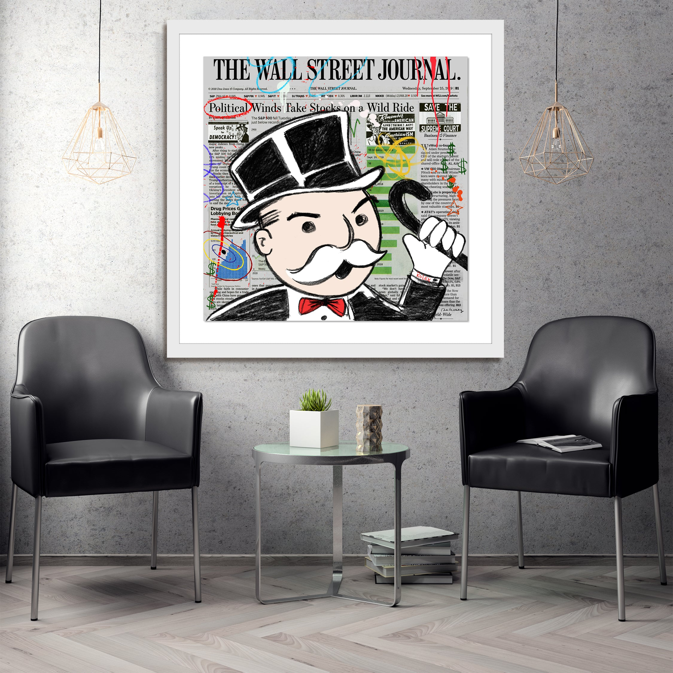 Wall Street Frenzy Nelson De La Nuez pop art stock market day trading finance monopoly banker