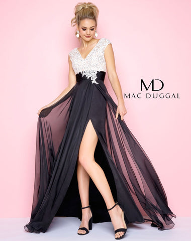 Mac Duggal 10027L Prom Dress Black/White
