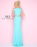 Mac Duggal 11082L Prom Dress Aqua Back