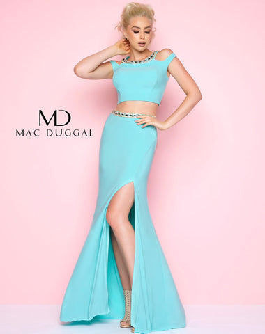 Mac Duggal 11082L Prom Dress Aqua