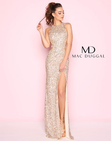 Mac Duggal 1202L Prom Dress Nude/Gold