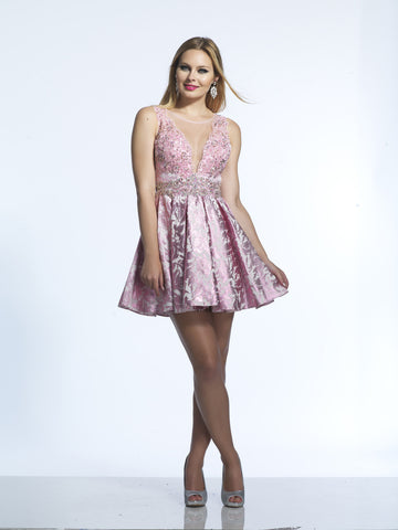 Dave & Johnny 1507 Homecoming Dress Pink
