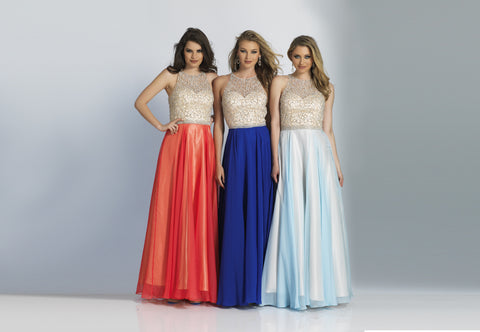 Dave & Johnny Prom Dress 1725 Ice Blue Sapphire Coral