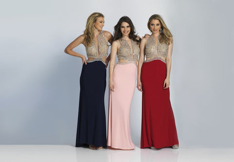 Prom Dress Dave & Johnny 1841 Black, Pink & Red