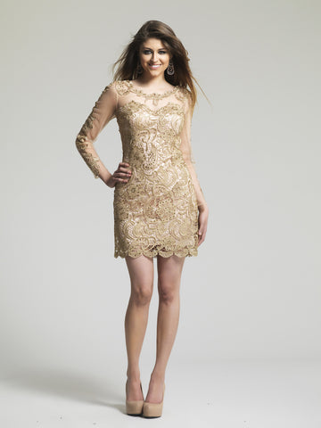Dave & Johnny 1967 Homecoming Dress Gold