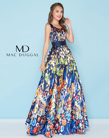 Mac Duggal 20080H Prom Dress Barcelona Blue