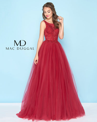 Mac Duggal 20082H Prom Dress Deep Red