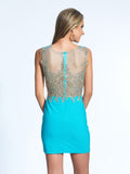 Homecoming Dress Dave & Johnny 2013 Turquoise Back