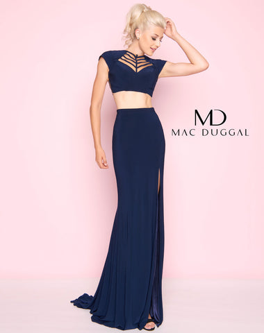 Mac Duggal 2019L Prom Dress Navy